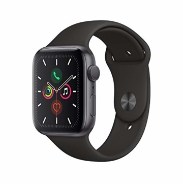 Apple Watch Series 5 (GPS, 44 mm) Aluminiumgehäuse Space Grau - Sportarmband Schwarz - 1